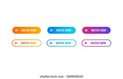 Watch now buttons icon set with colorful gradient. Watch now icon in flat style. Button for web site, label, banner, sticker, design template, icon and logo.
