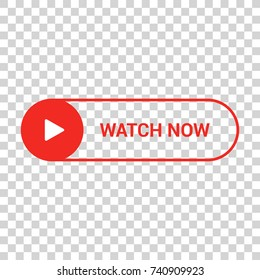 Watch now flat vector button. Video play icon isolated on transparent background
