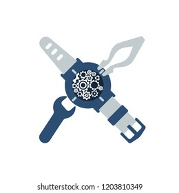 Watch repair icon. Watchmaker's logo. Vector illustration flat design. Isolated on white background. Disassembled watches with a spanner and tweezers. Watchmaker craft profession.