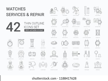 Watch services and repair icons set. 42 modern icons in flat minimalistic line style, containing such icons as wristwatch, sundial, watchmaker, clock diagnostics, pendulum clock
