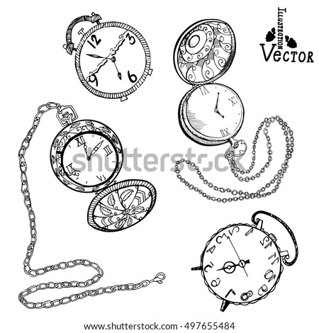 Watch Set Hand Drawn Vintage Alarm Stock Vector Royalty Free