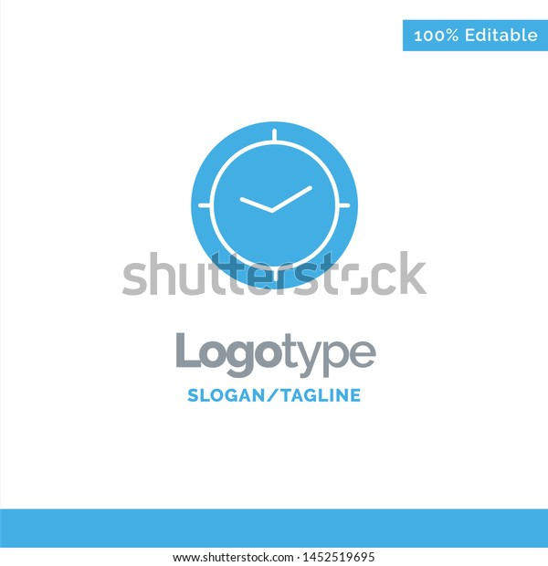 Watch Time Timer Clock Blue Solid Stock Vector (Royalty Free