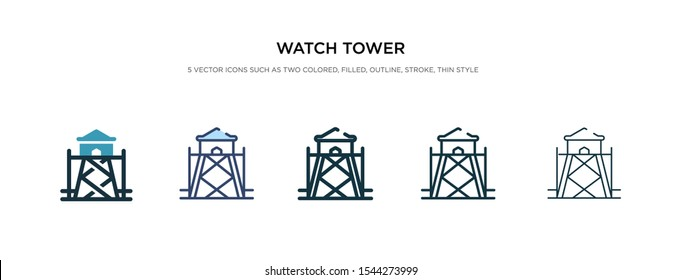 watch tower icon in different style vector illustration. two colored and black watch tower vector icons designed in filled, outline, line and stroke style can be used for web, mobile, ui