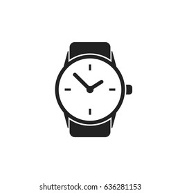 Watch vector icon. Clock flat illustration.