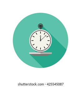 Watch vector icon in flat style. Stopwatch with long shadow.