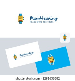 Watch  vector logotype with business card template. Elegant corporate identity. - Vector