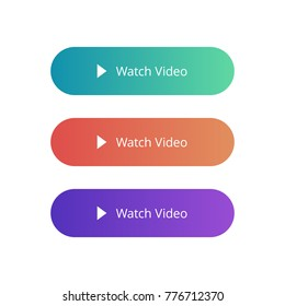 Watch Video colorful button set on white background. Flat line gradient button collection. Vector web element