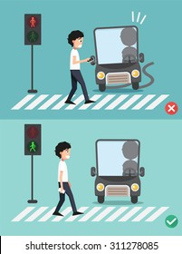 watch your step.men on the crosswalk ,illustration,vector
