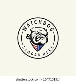 Watchdog logo design vector with vintage style