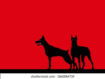 Watchdogs. Stylized image of two alert dobermans. Vector image for illustrations.