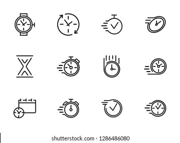 Watches and clock line icon set. Set of line icons on white background. Time concept. Vector illustration can be used for topics like sport, management