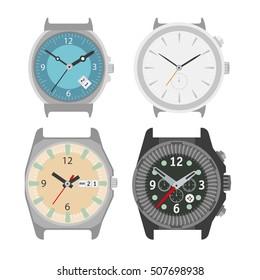 Watches set. Flat style illustration.