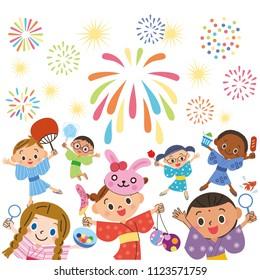 Watching fireworks with children