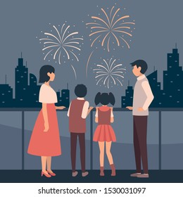 watching fireworks together with family