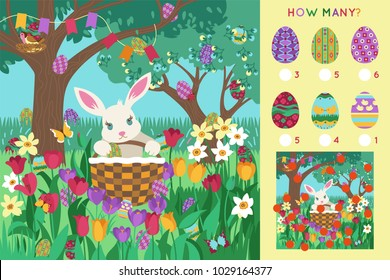 Watching game: find the egg in the picture. Easter Bunny with basket in the garden. Educational children game.