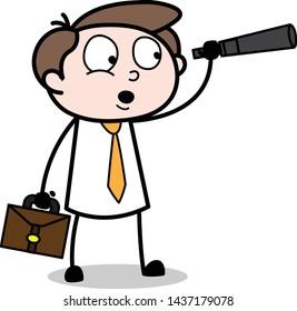 Watching with Telescope - Office Businessman Employee Cartoon Vector Illustration