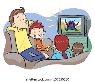 Watching TV With Family A family watching TV show. Vector EPS8 file.