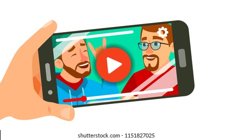 Watching Video On Smartphone Vector. Hand Holding Smartphone. Movie App Concept. Isolated Flat Illustration