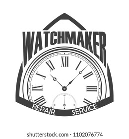 Watchmaker badge on white background, monochrome style, vector