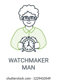 Watchmaker icon. Man with watches picture.