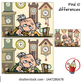Watchmaker repairing broken old watch. Find 10 differences. Educational matching game for children. Cartoon vector illustration