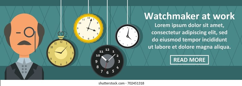 Watchmaker at work banner horizontal concept. Flat illustration of watchmaker at work banner horizontal vector concept for web