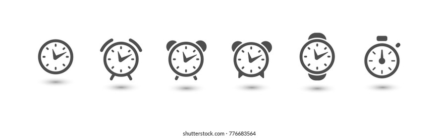 Watchs and clocks icon collection, time symbol