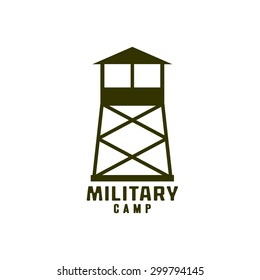 Watchtower of military camp icon