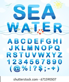 Water ABC. Alphabet font made in a marine style. Set of water letters and symbols