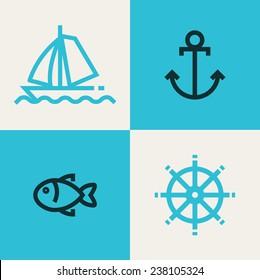 Water abstract  vector design logo template. Creative aqua fun emblem symbol. Concept vector line icon.