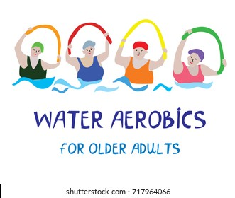Water aerobics banner with senior women, vector graphic illustration