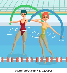 Water aerobics with noodles. Group fitness classes. Women engaged in gymnastics pool. Flat cartoon vector illustration