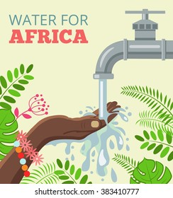 Water for africa. Vector flat illustration