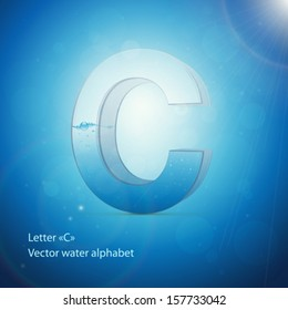 Water alphabet on blue background. Vector. Letter C