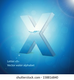 Water alphabet on blue background. Vector. Letter X