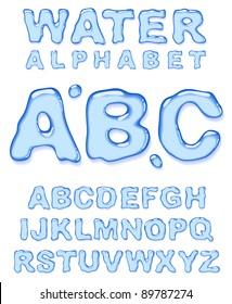 Water alphabet. Vector letters set.