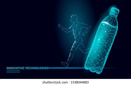 Water aqua bottle jogger rehydration concept. Health care against dehydration isotonic electrolytes drink. Runner sportsman low poly 3D vector illustration