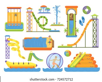 Water aquapark playground family vacation funny time vector illustration.