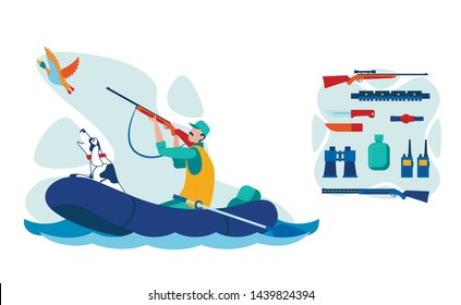 Water Bird Hunting Equipment Illustrations Set. Man with Dog in Inflatable Boat Flat Vector Character. Cartoon Hunter Shooting Wild Waterbird. Gunshot, Talkie-Walkie, Knives Tools and Instruments