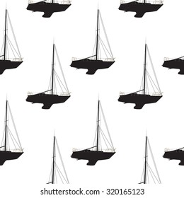 Water Boat, Sailboat Seamless Pattern Background. Vector Illustration. EPS10