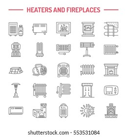 Water boiler, thermostat, electric gas solar heaters and other house heating appliances line icons. Thin linear pictogram. Equipment store signs.
