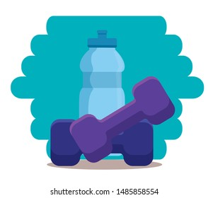 water bottle and dumbbell to sport activity