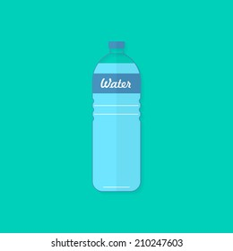 Water bottle. Flat design, with shadow. Use for card, poster, brochure, banner, web design. Easy to edit. Vector illustration - EPS10.