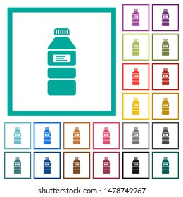 Water bottle with label flat color icons with quadrant frames on white background