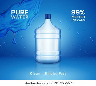 Water bottle mineral background. Plastic water bottle advertising drink cooler, splash clear water product.
