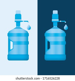 Water bottle reusable 5 gallon container with handle and dispensing pump. Vector illustration.