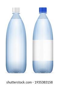 Water bottle set on a white background. Vector illustration.