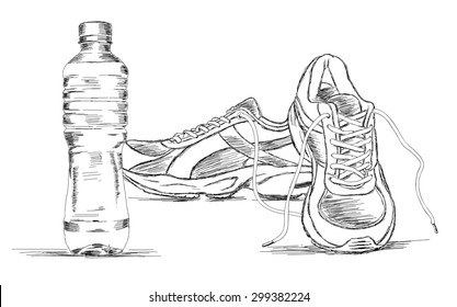 98db6a161851 Water Bottle and Sneakers Shoe Vector Sketch Illustration