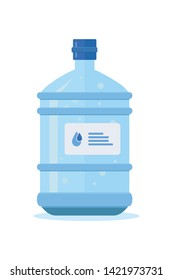 Water bottle vector cartoon illustration. Plastic barrel with label isometric clipart. Clean potable drinking water. Healthy aqua gallon. Dispenser, plastic flasks. Isolated design element