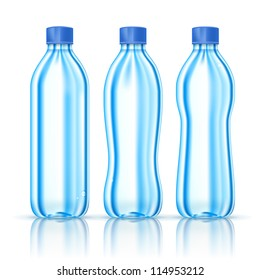 Water bottles various forms isolated on white. Vector Illustration